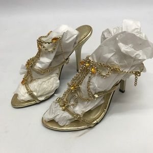 Shoes - J. Kuo Gold Rhinestone Heels Shoes sz 7.5